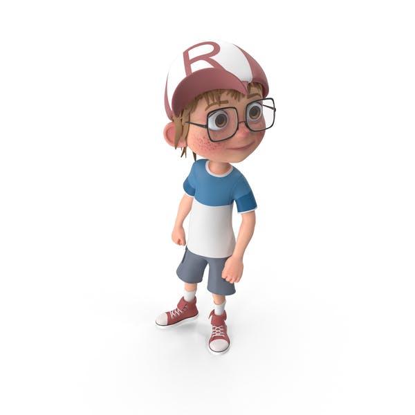 Cartoon Boy Looking Left