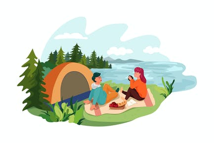 A man and woman setting a tent by lake
