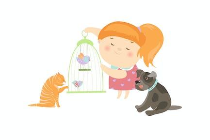 Niedliches Mädchen, umgeben von verschiedenen Arten von Haustieren.