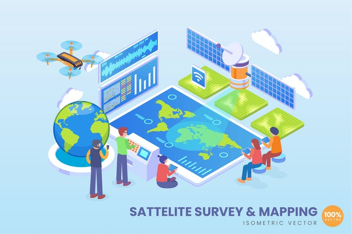 Isometric Satellite Survey & Mapping Concept