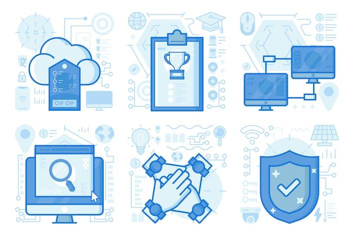 Thumbnail for UX-Illustrationen für Computernetzwerk
