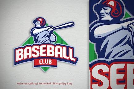 baseball player logo with editable text