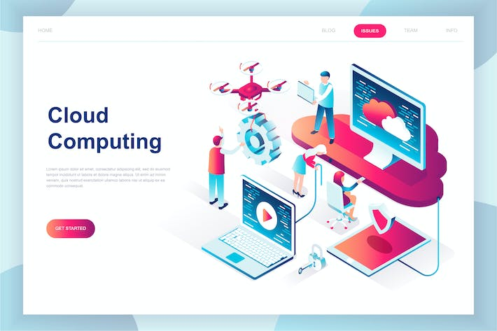 Thumbnail for Cloud Technology Isometric Landing Page