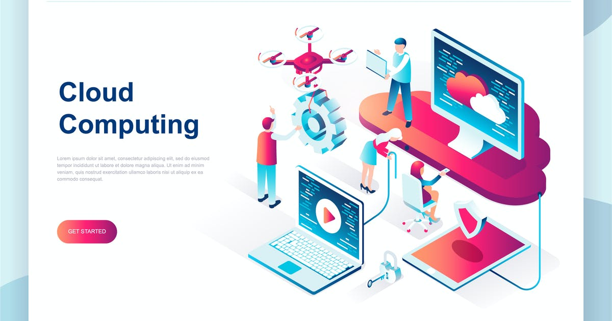 Download Cloud Technology Isometric Landing Page by alexdndz