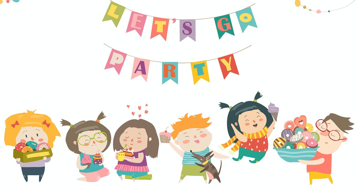 Download Funny cartoon children and sweets. Lets go party. by masastarus