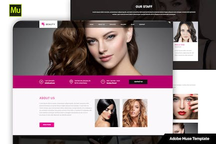 Responsive Hair and Beauty Salon Adobe Muse