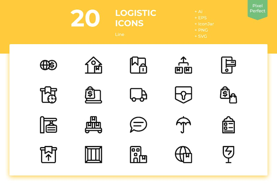 Download 20 Logistic Icons (Line) by inipagi