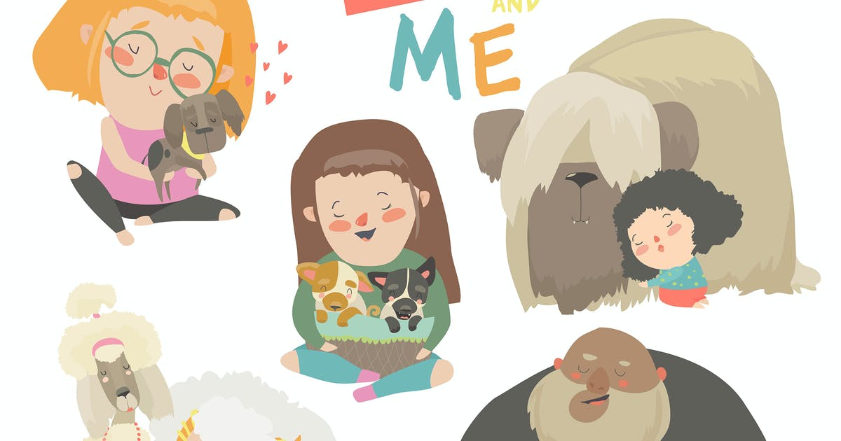 Download Cute pets with their owners. Vector collection by masastarus