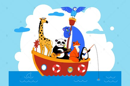 Cute animals in a boat flat illustration