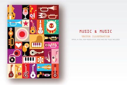 Musik und Musik Vektor collage