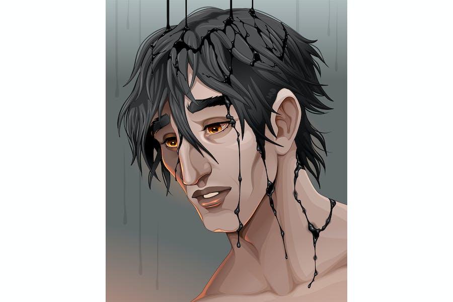 Representation of Sadness a Man in the Black Rain