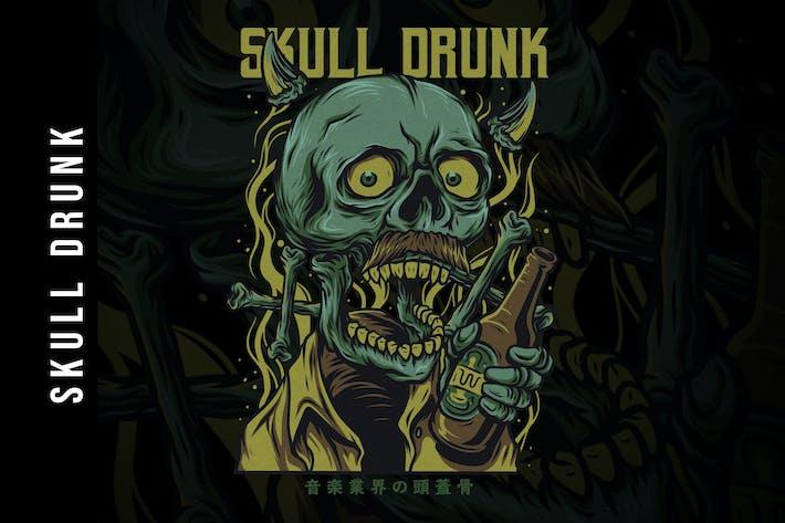 Cover Image For Skull Drunk T-Shirt Design