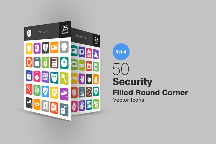 Thumbnail for 50 Security Flat Round Corner Icons