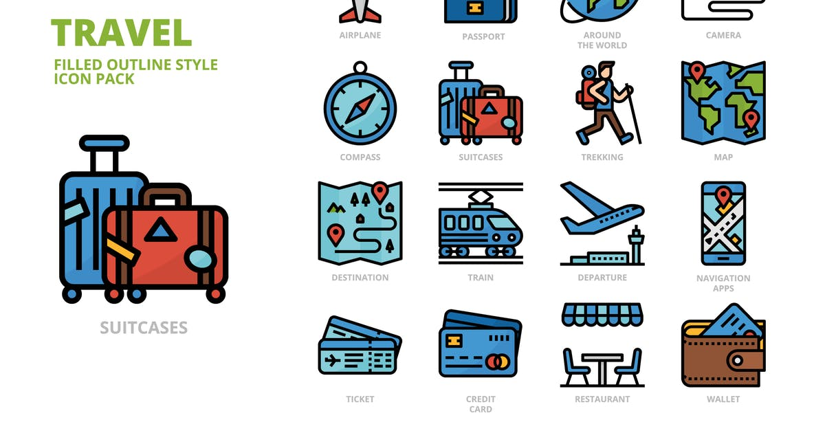 Download Travel Filled Outline Icon Set by monkik
