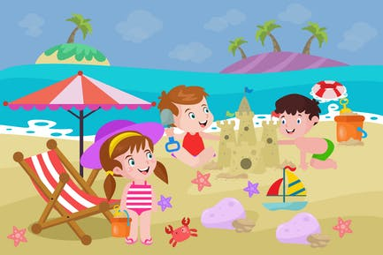 Children Playing Sand on The Beach - Illustration