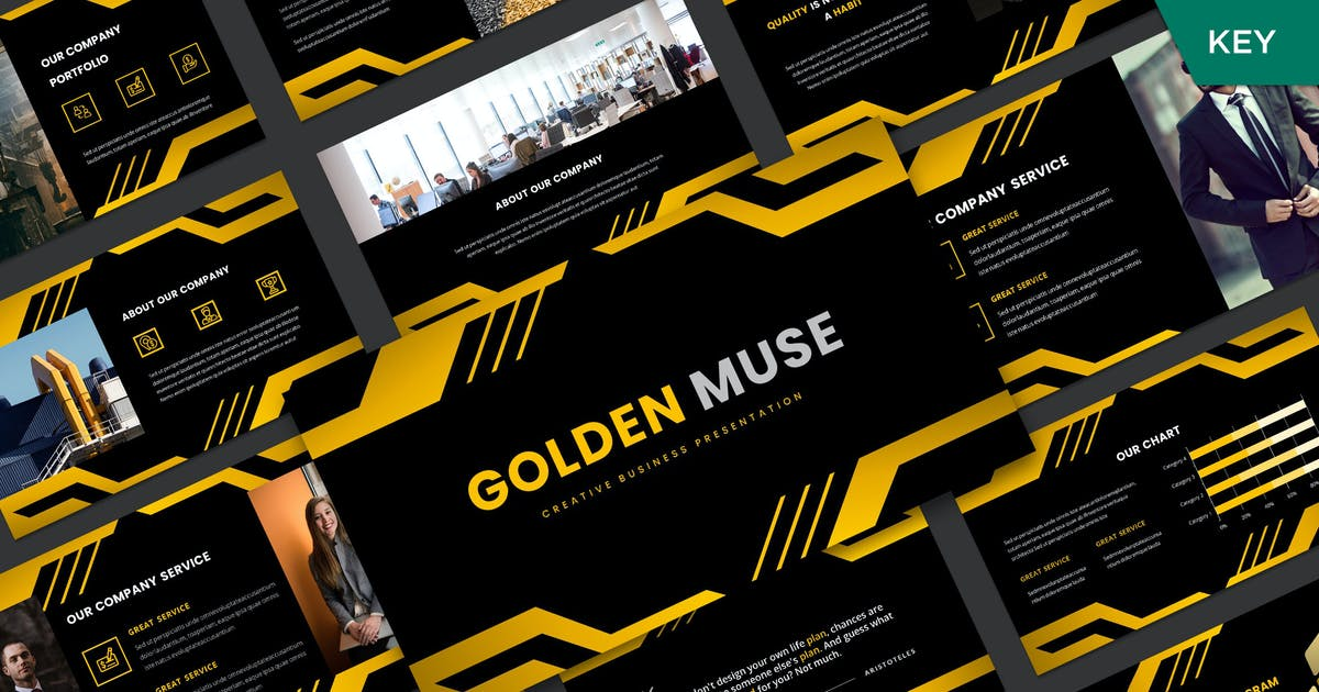 Download Golden Muse Keynote Template by axelartstudio