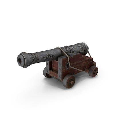 Cañón de buques con un carro de madera