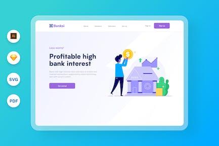 Sitio web de inversión en acciones bancarias Ilustración