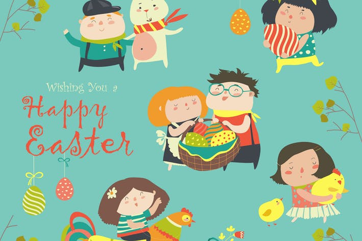 Thumbnail for Vector set of characters and icons on the Easter