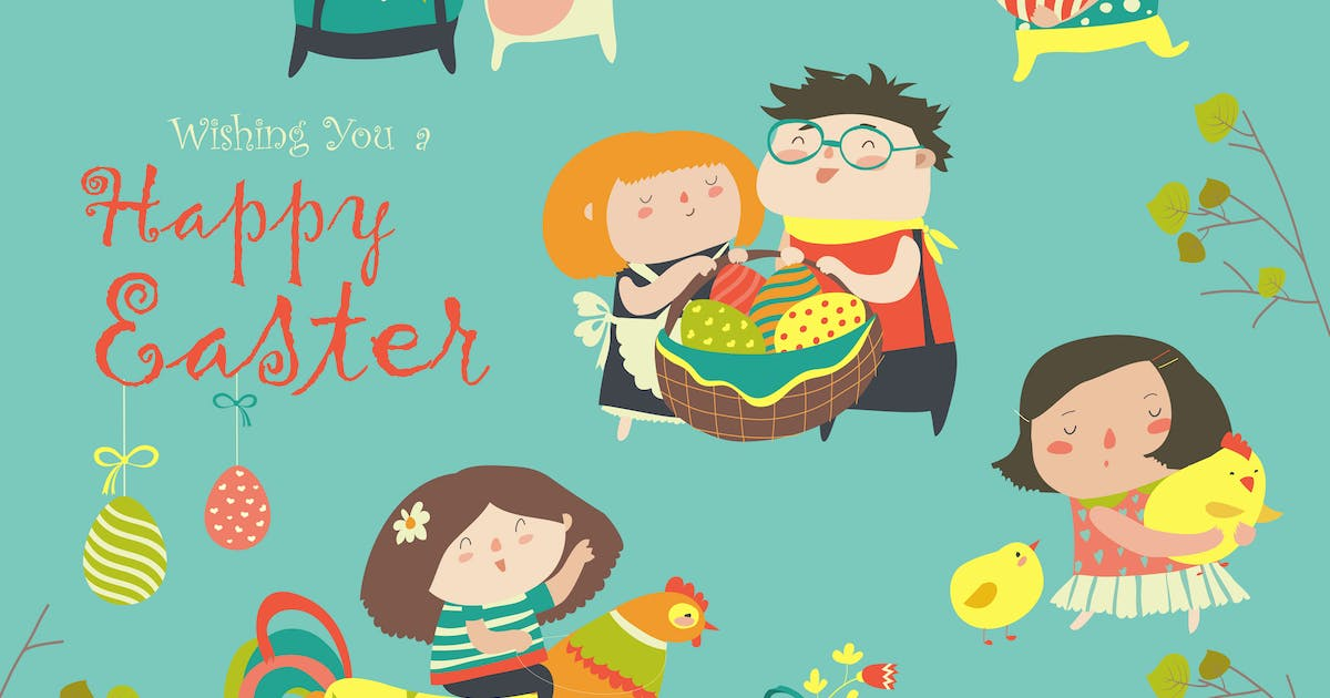 Download Vector set of characters and icons on the Easter by masastarus