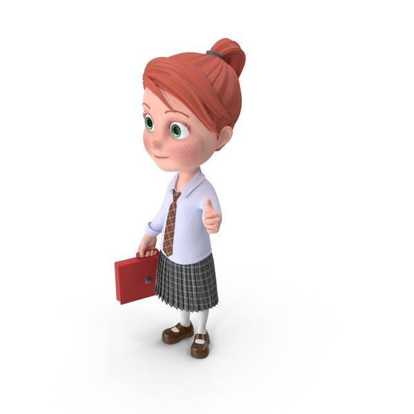 Cartoon Girl Grace Holding Briefcase