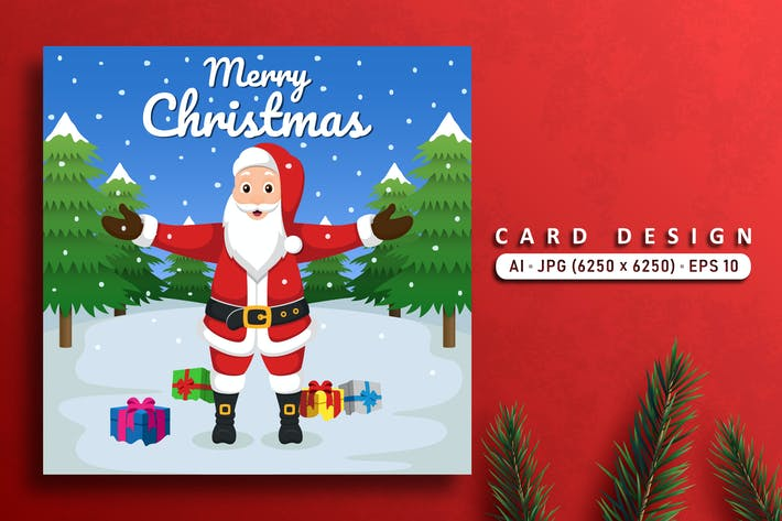 Thumbnail for Merry Christmas Vector Card With Santa Claus