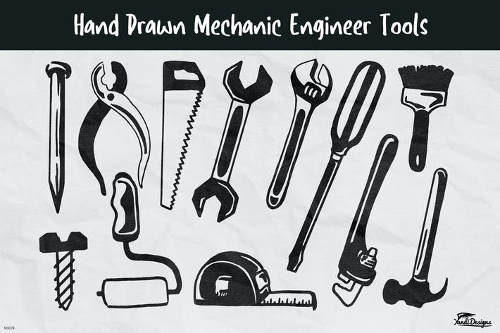 Thumbnail for Hand Drawn Mechanic Engineer Tools