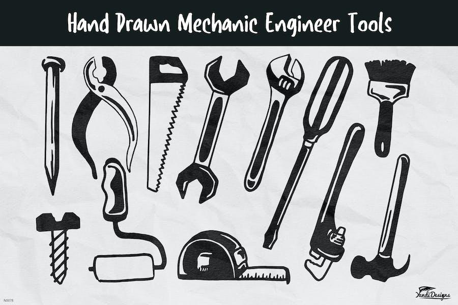 Hand Drawn Mechanic Engineer Tools