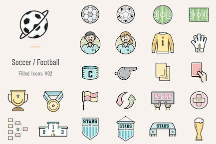Soccer / Football Filled Icons - Volume 02