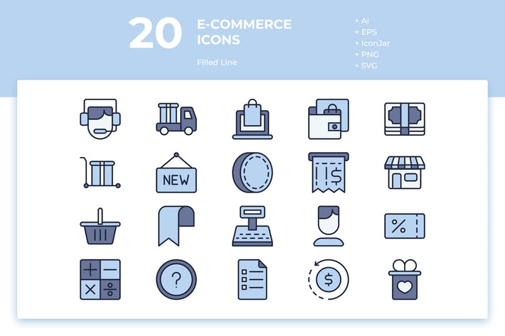 Thumbnail for 20 E-commerce Icons (Filled Line)