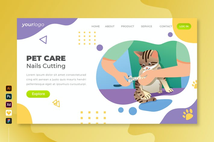 Thumbnail for Pet Care Nails Cutting - Vector Landing Page