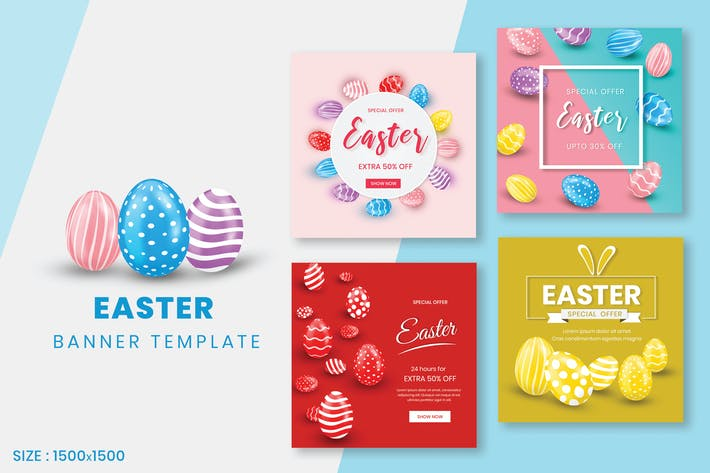 Thumbnail for Happy Easter Sale Banner Template