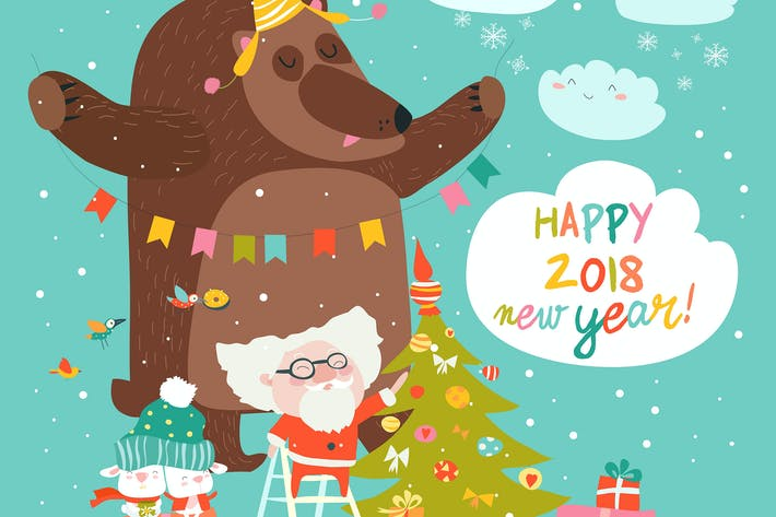 Cover Image For Vector Christmas card with santa claus and bear