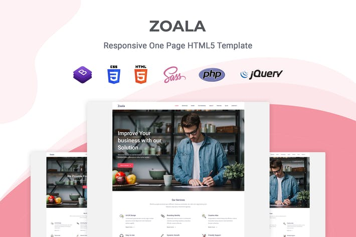 Thumbnail for Zoala - One Page HTML5 Template