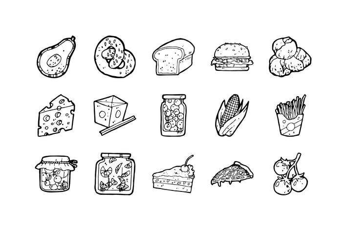 Thumbnail for 105 Food Hand-drawn Icons