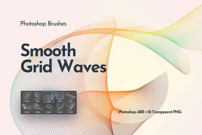 Thumbnail for Flowing Network Waves Photoshop Brushes