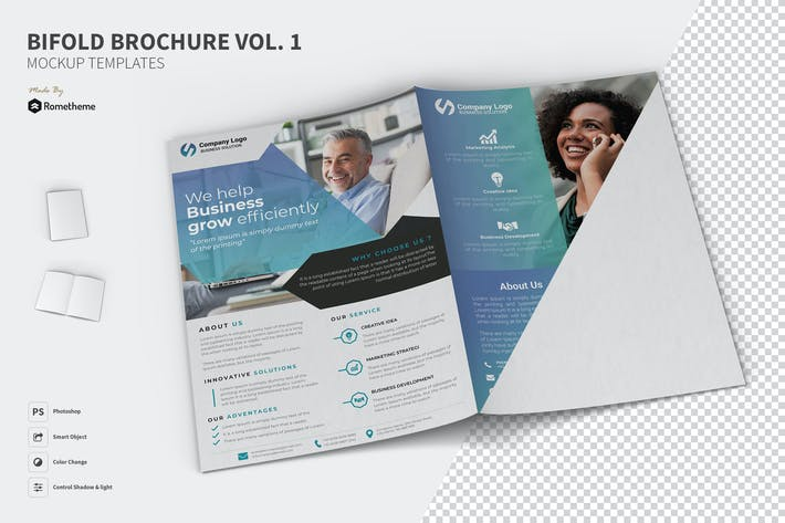 Thumbnail for Bifold Brochure Mockups vol. 01