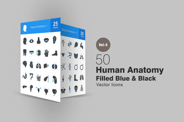 Cover Image For 50 Human Anatomy Blue & Black Icons