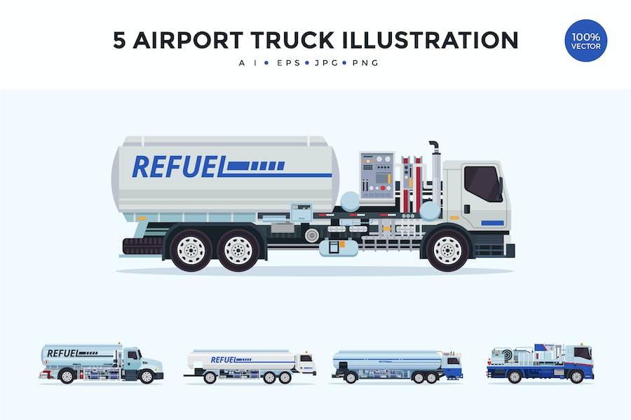 5 Airport Truck Vector Illustration Set 1