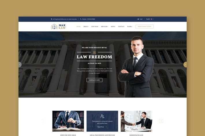 Thumbnail for Lawyer & Attorney Website PSD Template
