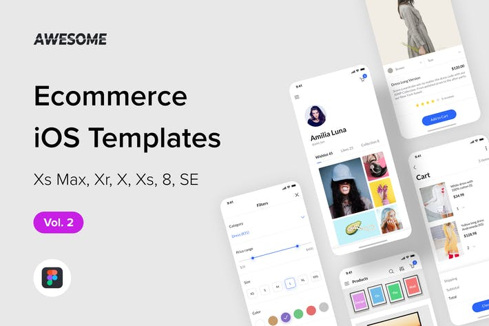 Thumbnail for Awesome iOS UI Kit - Ecommerce Vol. 2 (Figma)