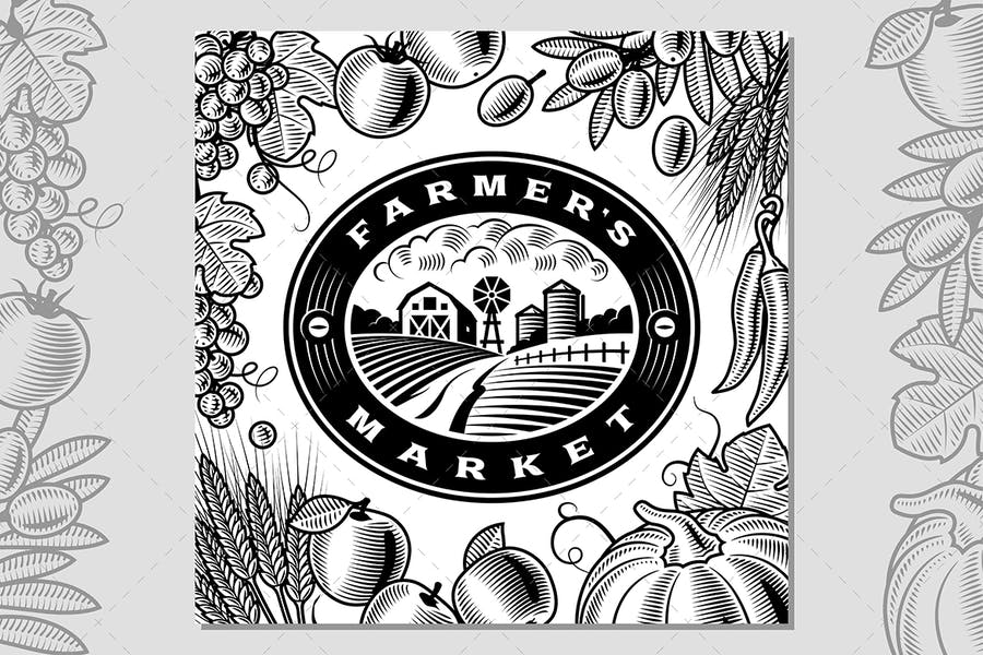 Vintage Farmer's Market Label Black And White