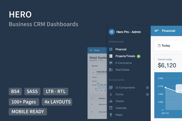 Thumbnail for Hero PRO - Business Admin Dashboards