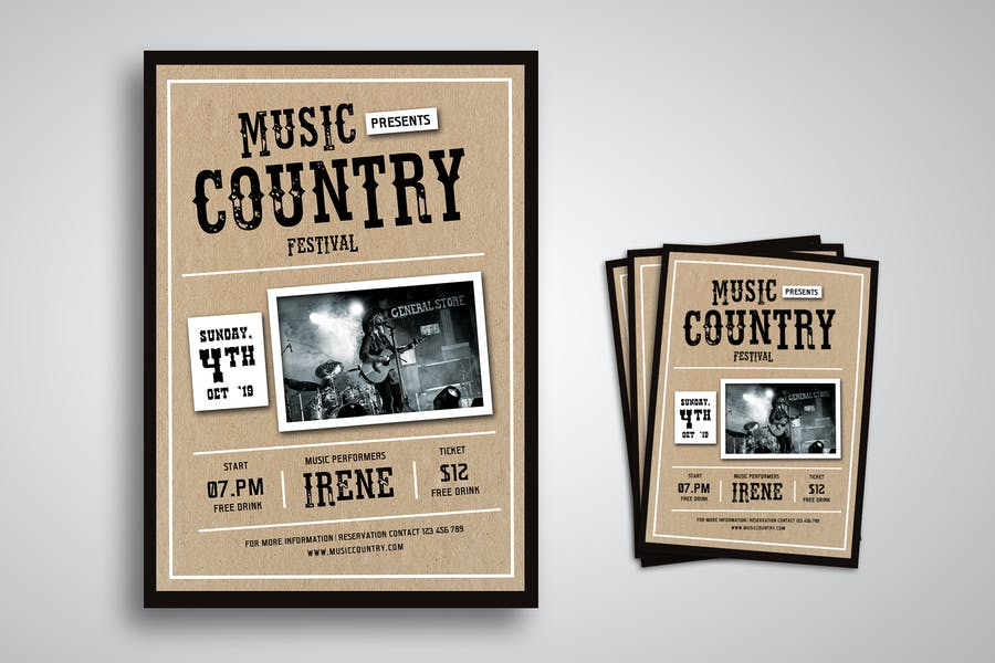 Music Country Festival Flyer Promo Template