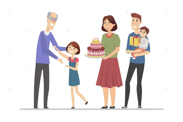 Thumbnail for Happy birthday, grandfather - flat illustration