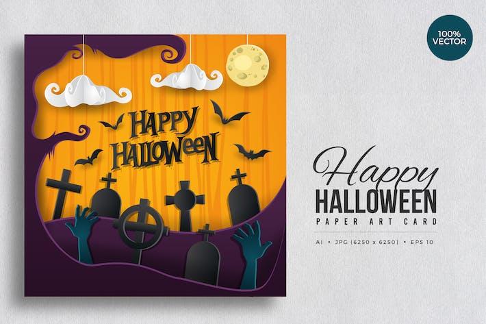 Thumbnail for Happy Halloween Paper Art Vector Card Vol.1