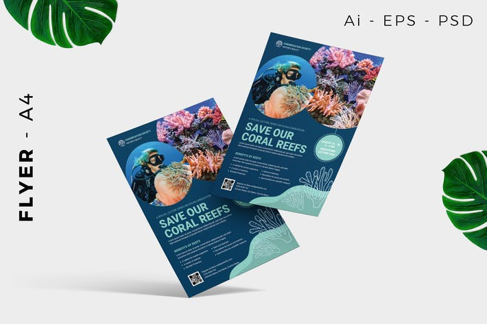 Thumbnail for Conservation underwater flyer template promotion