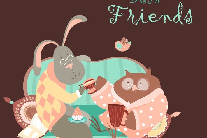 Thumbnail for Cute rabbit and owl drink coffee on the couch