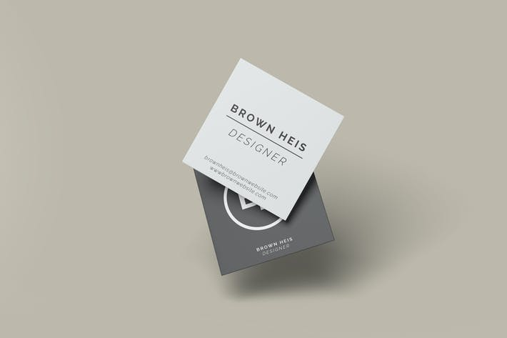 Thumbnail for Floating Square Business Card Mockup Template