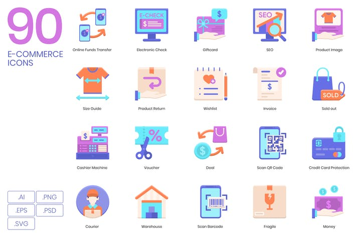 Thumbnail for 90 E-Commerce Icons | Violet Series
